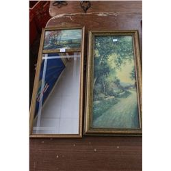 Mirror with a Picture on Top and a Rectangular Picture