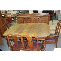 Oak Table with 2 Leaves, 6 Chairs (need Upholstery) & a Matching Side Board (6 ft)