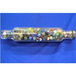 Glass Rolling Pin Full of Assorted Glass Marbles