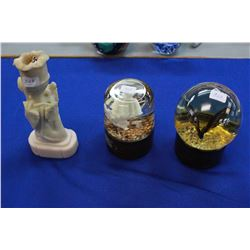 Two Paper Weights (Glass) and a Soapstone Candle Holder