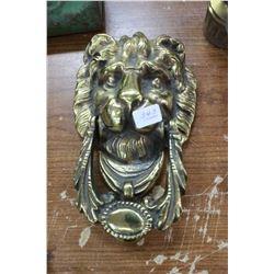 """Brass """"Lion's Head"""" Door Knocker"""