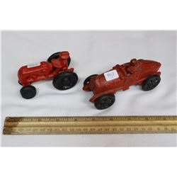 Cast Iron Race Car & a Cast Iron Toy Tractor