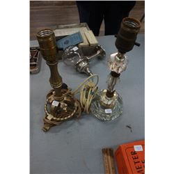 Lamp Bases (2) - 1 Metal and 1 Glass