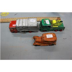 Three Toys:  Lesney Refuse Truck (no wheels); Matchbox Breakdown Tractor/Truck (no tires) & a Cast I
