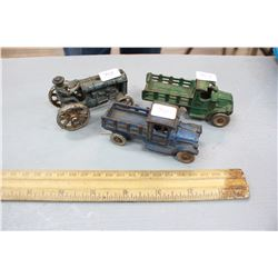 Cast Iron Toys (3):  a Tractor with Metal Wheels & (2) Truck - 1 is damaged
