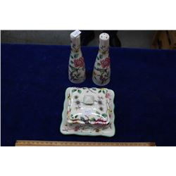 Old Foley Salt & Pepper and Matching Covered Butter Dish