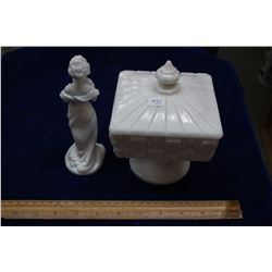 Milk Glass Covered Dish on a Pedestal with Bottom Marking (G,W) and a Milk Glass Lady Decanter