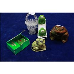 Frog Items (4) and a Small Glass (String) Basket