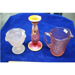 """Ducal"" Candle Holder; a Pink Glass Pitcher (Grape Pattern) and a Frosted Pink Dessert Dish"