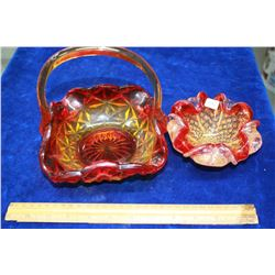 Glass Basket (Red Trimmed) with Applied Handle & a Heavy Glass Dish (Ashtray?) with Red Trim