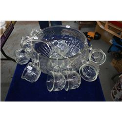 Punch Bowl set with 12 Cups, Hooks and a Ladle