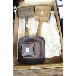 Two Wooden Mallets; Robin Hood Rolled Oats Bag & a Stove-Top Toaster