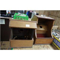 Two Wooden Ballot Boxes - 1 is a Masonic Black Ball Ballot Voting Box w/Balls
