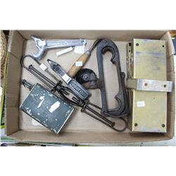 Box of Miscellaneous Items: Bostitch Staple Puller; Hose Coupler Wrench; Tightening Tool; Flares, et