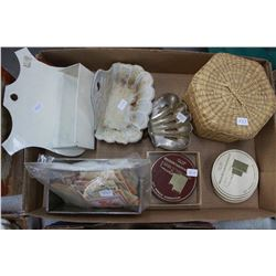Box with:  2 Soap Dishes; Comb Box; Basket; Nabob Coupons & Coasters