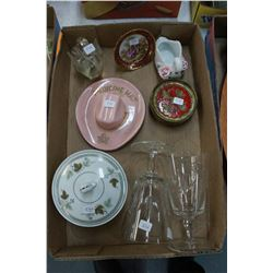 Box of Miscellaneous: Medicine Hat 'Hat'; 2 Swans; Coasters; Sm. Limoges Plate; Sugar Bowl & 2 Cryst