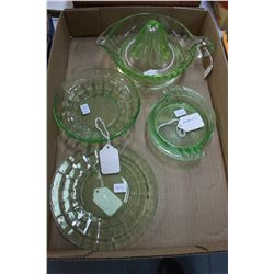 Green Depression Glass (4 pcs): Juicer (has a chip); Bowl; Plate & Ashtray