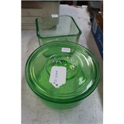 Green Depression Glass (3 pcs): Small Serving Bowl with Lid & 1 Square Bowl