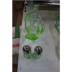 Green Depression Glass (4 pcs): Salt & Pepper Shakers; Bud Vase and a Candy Dish