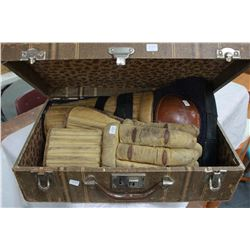 Small Suitcase (circa 1950's) with 1940's Hockey Shin Pads & Gloves