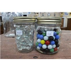 Two Small Jars of Marbles - Clear & Colored
