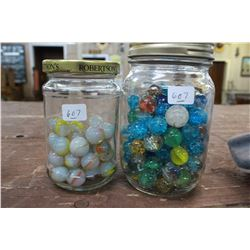 Two Small Jars of Marbles - Orange & White and Colored