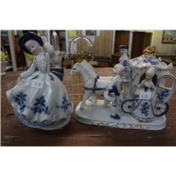 Two Blue & White Ornaments (1) Musical Lady