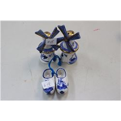 Two Pairs of Blue & White Items; 2 Shoes; Salt & Pepper