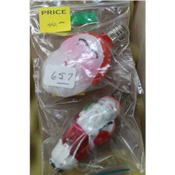 Two Vintage Figural Christmas Light Bulbs (1930's - 1940's) - Double Faced Santa & Double Sided Full