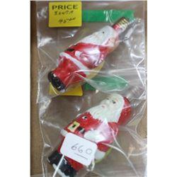 Two Vintage Figural Christmas Light Bulbs (1930's - 1940's) - Santas with Bags - 1 Yellow, 1 Green