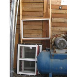 PAIR OF SMALL BASEMENT STYLE WINDOWS 35 INCH X 23 INCH