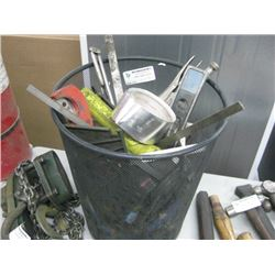 GARBAGE CAN OF MISCELLANEOUS TOOLS