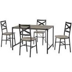 5PC ANGLE IRON DINING SET GREY WASHED