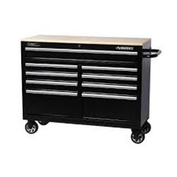 Husky 46-inch 9-Drawer Mobile Workbench with Solid Wood Top DENTED