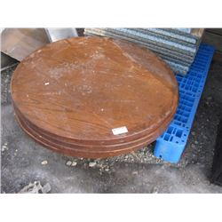 4 PC 36 INCH WOOD ROUND TABLE TOPS