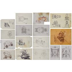 Collection of (16) Wonkamobile Concept Drawings.