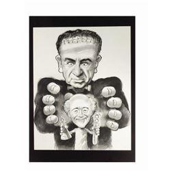 "Lemmon & Matthau ""Frankenstein"" Caricature Drawing."