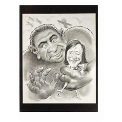 """Lemmon & Matthau """"King Kong"""" Caricature Drawing."""