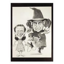 """Lemmon & Matthau """"Wizard of Oz"""" Caricature Drawing."""