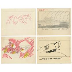 Set of (4) The Incredible Mr. Limpet Storyboards.