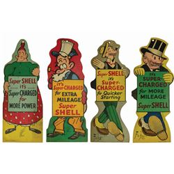 Set of (4) Toonerville Folks & Mutt and Jeff Shell Gas Signs.