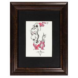 Signed Original Dr. Seuss Grinch Drawing.