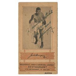 Jack Dempsey Signed Jack Dempsey's Restaurant Menu.
