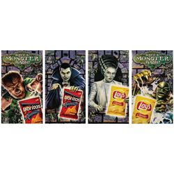 Set of (4) Universal Monsters Frito-Lay Park Displays.