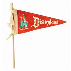 Disneyland Souvenir Pennant on Wooden Dowel.