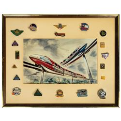 Hench and McKim Signed Monorail Print with (19) Pins.