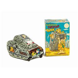 Mechanical Turnover Flintstone Tank Toy in Box.