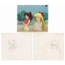 Original Sailor Moon Jupiter & Mars Cel & Background.