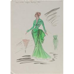 Lucy in London Edith Head Costume Sketch.