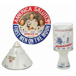 Apollo 11 Button, Tumbler, and Model.